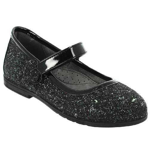IQKIDS GIOULA-145 Μαύρο Κοριτσιστική Μπαλαρίνα Με Γκλίτερ