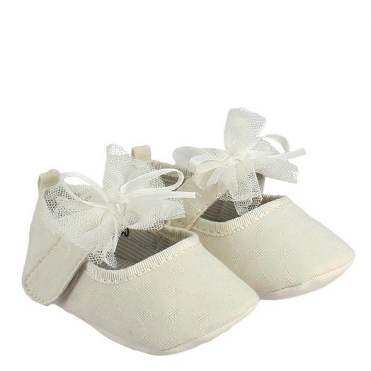 IQSHOES Μπαρέτες Νεογέννητο Κορίτσι DIANA-140 Λευκό